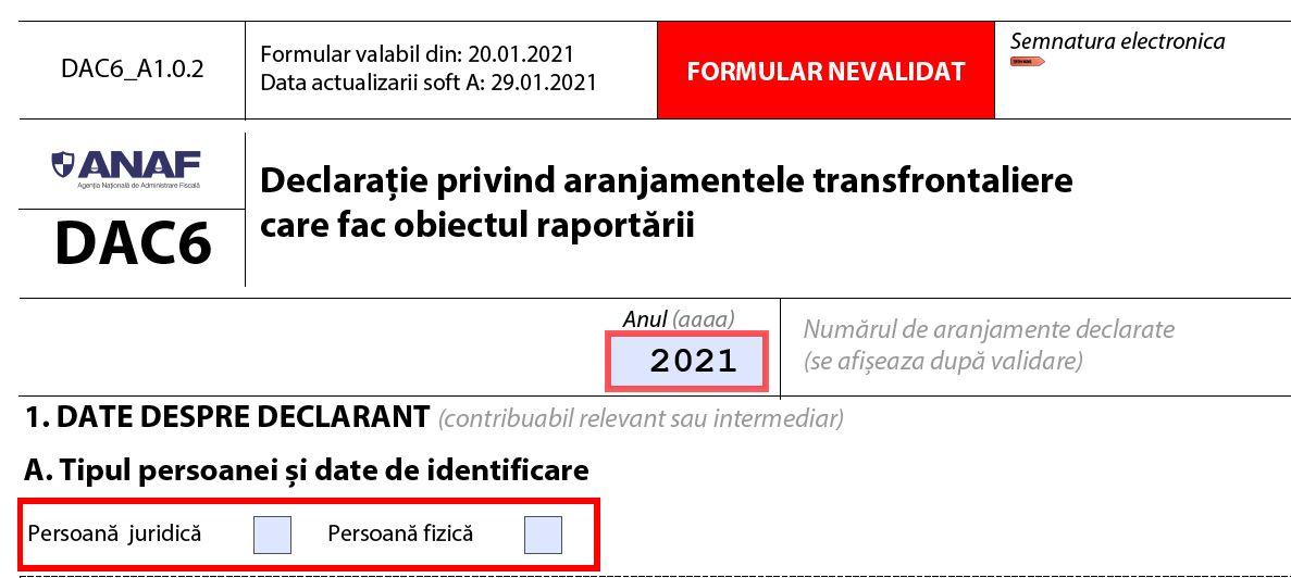 Cum se completeaza formularul DAC6 pentru raportarea aranjamentelor transfrontaliere