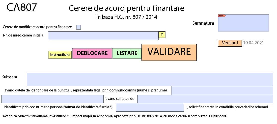 Ajutor de stat. Descarca CA807 – Cerere de acord pentru finantare (ghid de completare)