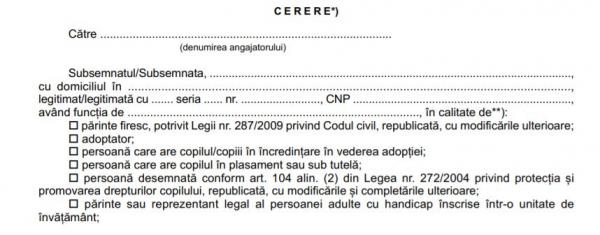 Formularele prin care parintii pot solicita zile libere platite de la angajator, publicate in Monitor