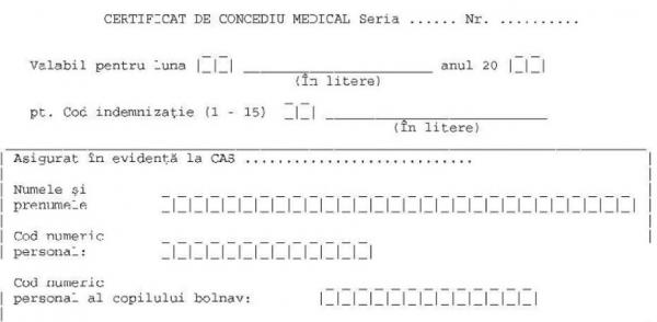 Modificari privind certificatul de concediu medical: un nou cod de indemnizatie