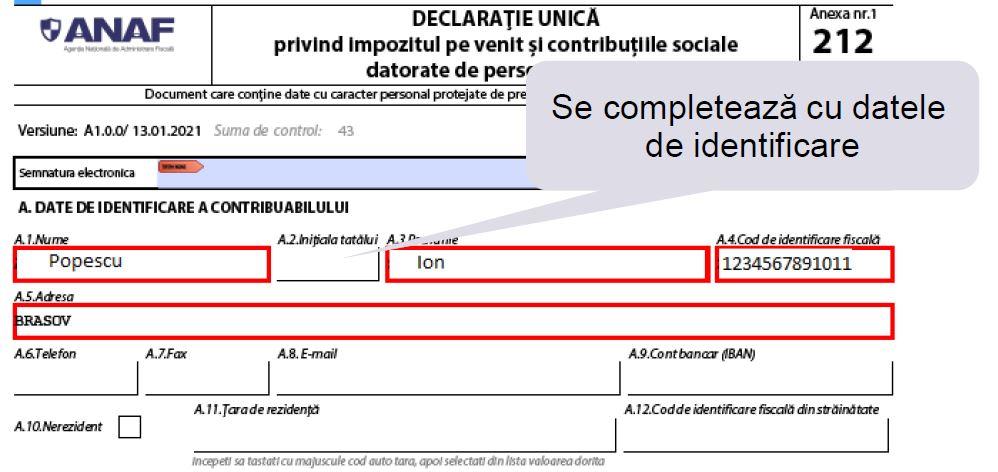 Model de completare a Declaratiei unice pentru persoane fara venituri care opteaza pentru plata contributiei de asigurari sociale de sanatate