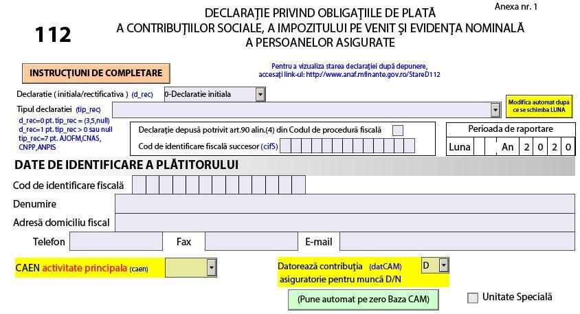 Descarcati Declaratia 112 - Ultima versiune valabila 2020 - Stare D112