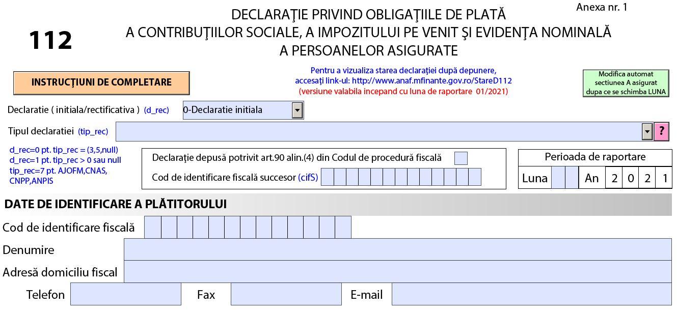 Descarcati Declaratia 112 - Ultima versiune valabila 2021 - Stare D112