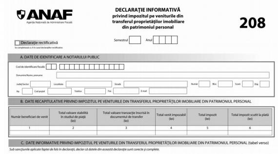 ANAF modifica trei declaratii care vizeaza transferul proprietatilor imobiliare