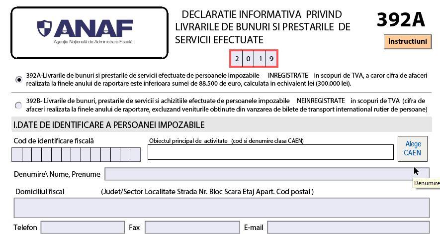 Declaratia 392 (A si B) in 2020. ANAF a publicat PDF-ul inteligent. Descarca ultima versiune!