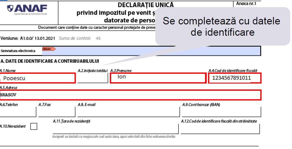 Model de completare a Declaratiei unice pentru venituri obtinute din activitati independente impuse la norma de venit