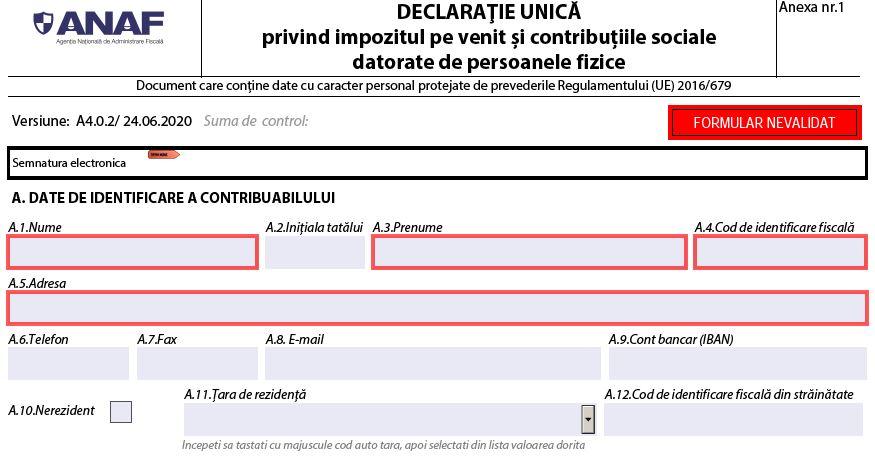 UPDATE Declaratia unica 2020. Ghid complet oferit de ANAF
