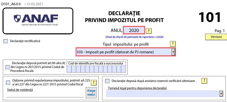 Declaratia 101 privind impozitul pe profit (model valabil in 2021)