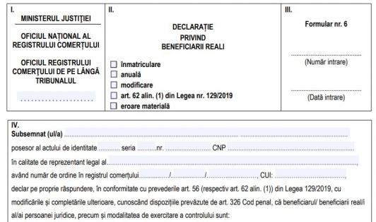 ONRC a publicat noile modele de declaratii privind beneficiarii reali