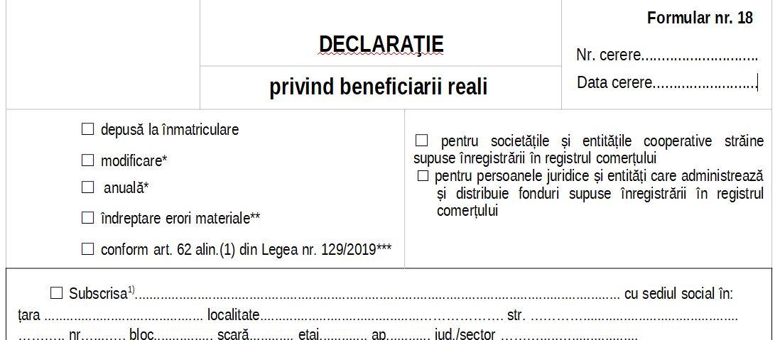 Anunt ONRC referitor la Declaratia privind beneficiarul real: cui ii revine obligatia si cine este exceptat