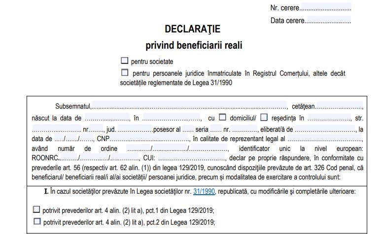 Declaratia privind beneficiarii reali – noul termen de depunere este 2 noiembrie 2020