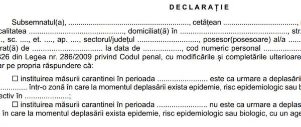 Modificari privind normele de acordare a concediilor medicale. Declaratia care trebuie completata de persoanele in carantina