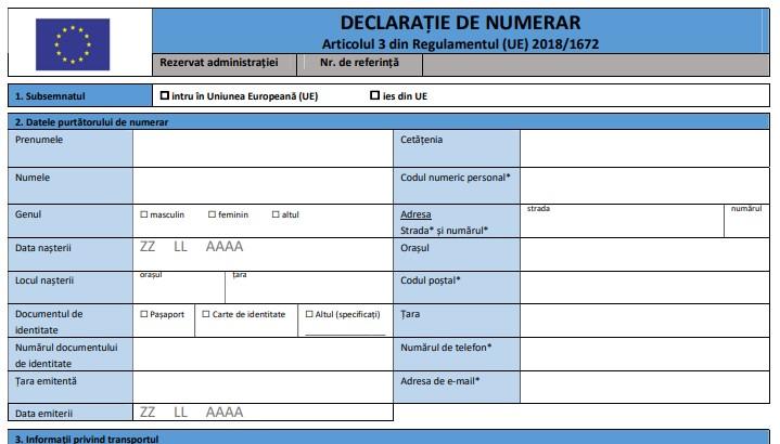Obligatia de declarare a numerarului insotit si neinsotit in valoare de 10 000 EUR sau mai mult se indeplineste in formulare noi