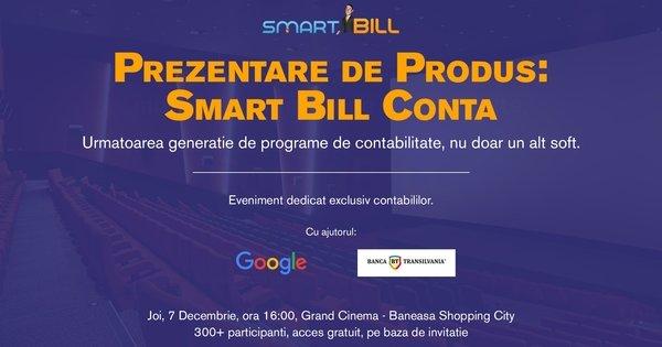 Smart Bill are placerea de a invita contabilii la unul dintre cele mai asteptate evenimente, prezentarea produsului Smart Bill Conta