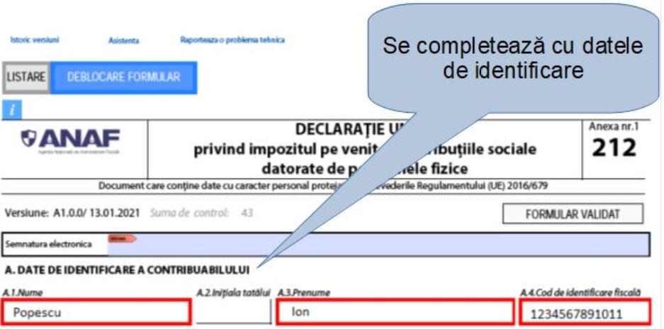 Model de completare a Declaratiei unice pentru veniturile obtinute din activitati independente impuse in sistem real
