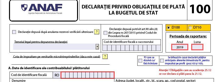 Declaratia 100 - Termen de depunere si instructiuni de completare