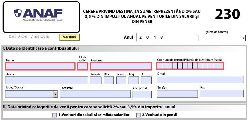 Completarea declaratiei 230: ANAF a publicat noul PDF inteligent