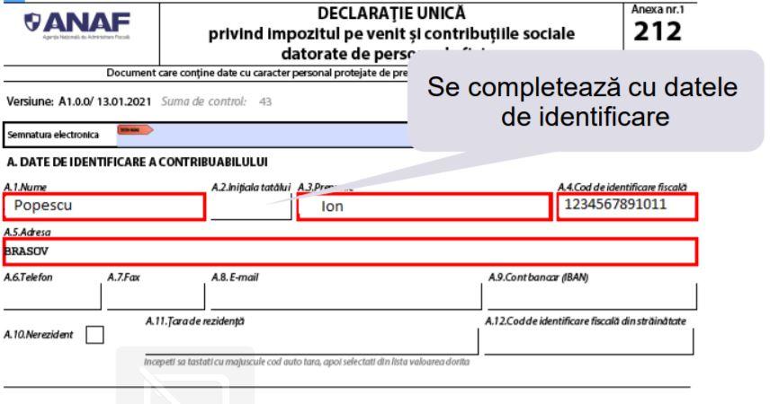Model de completare a Declaratiei unice pentru venituri obtinute din cedarea folosintei bunurilor (contract de inchiriere in lei)
