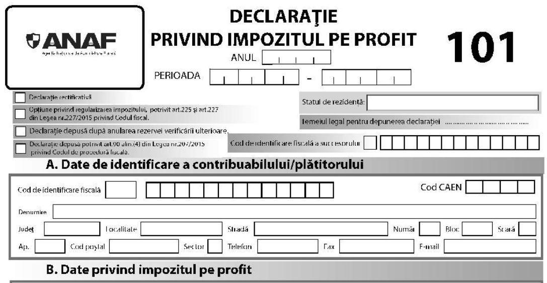 Noua declaratie 101 privind impozitul pe profit (Ordinul 4072/2020)