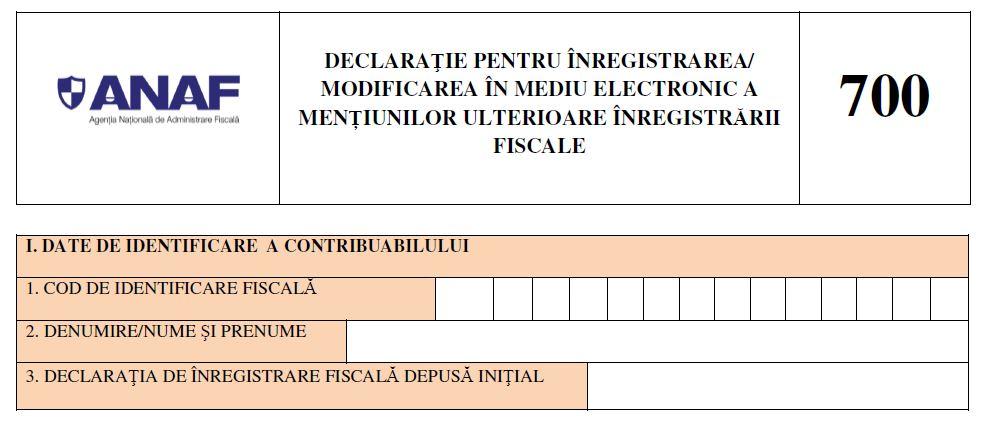 Noul formular 700: Contribuabilii vor putea efectua online toate optiunile ulterioare inregistrarii fiscale