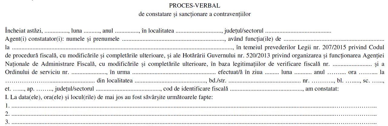 Fiscul modifica procesul verbal de constatare si sanctionare a contraventiilor utilizat pentru verificarea situatiei fiscale personale