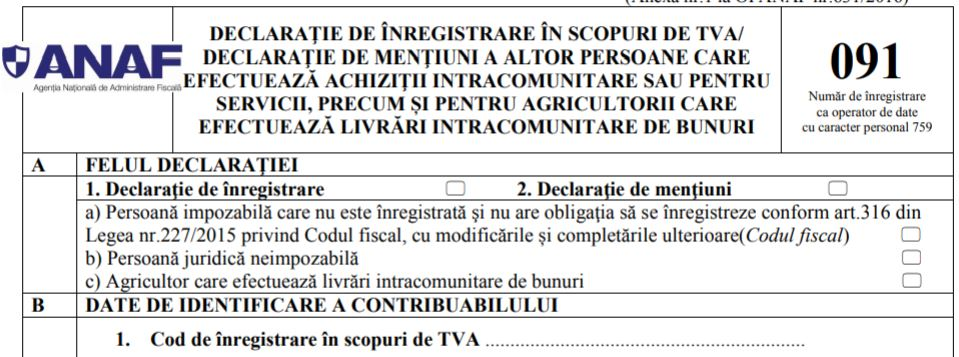 OPANAF 1888/2019: aprobarea unor formulare de inregistrare/ anulare a inregistrarii in scopuri de TVA